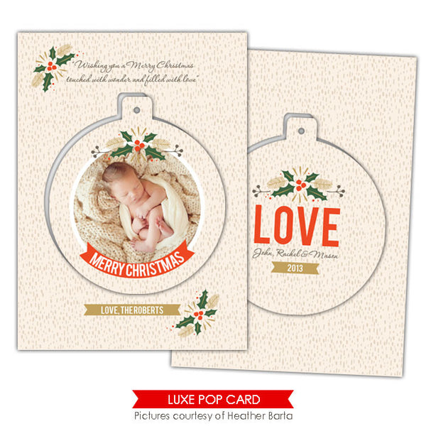 Christmas Luxe Pop Card Template | Mistletoe circle