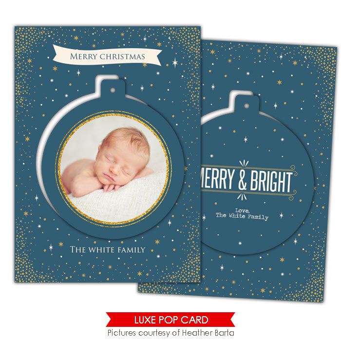 Christmas Luxe Pop Card Template | Blue night