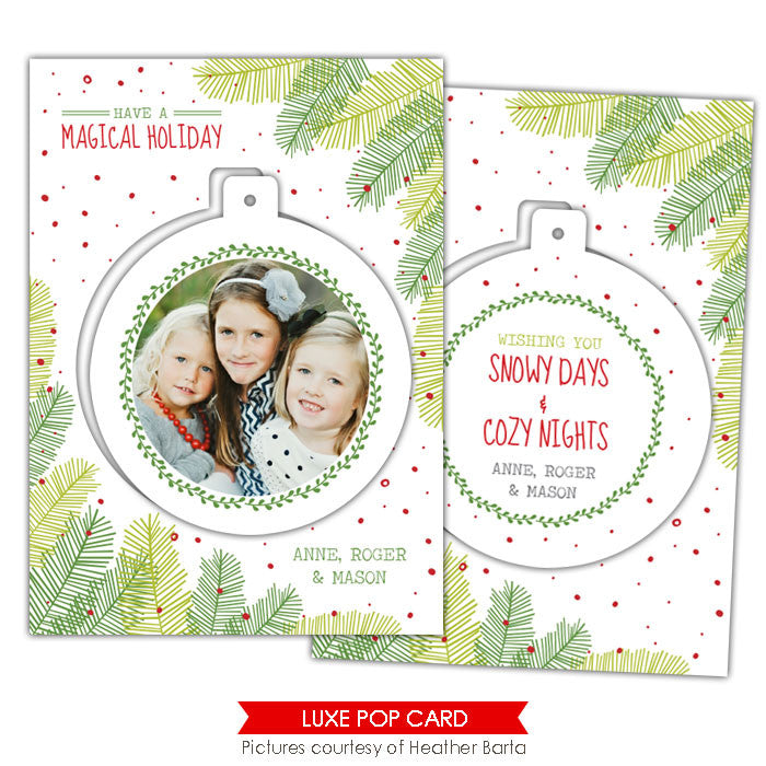 Christmas Luxe Pop Card Template | Tree circle