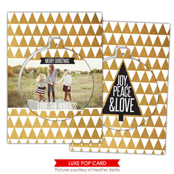 Christmas Luxe Pop Card Template | Gold triangles