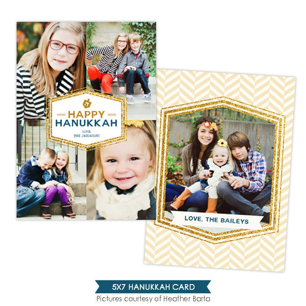 Hanukkah Photocard Template | Gold borders- e959