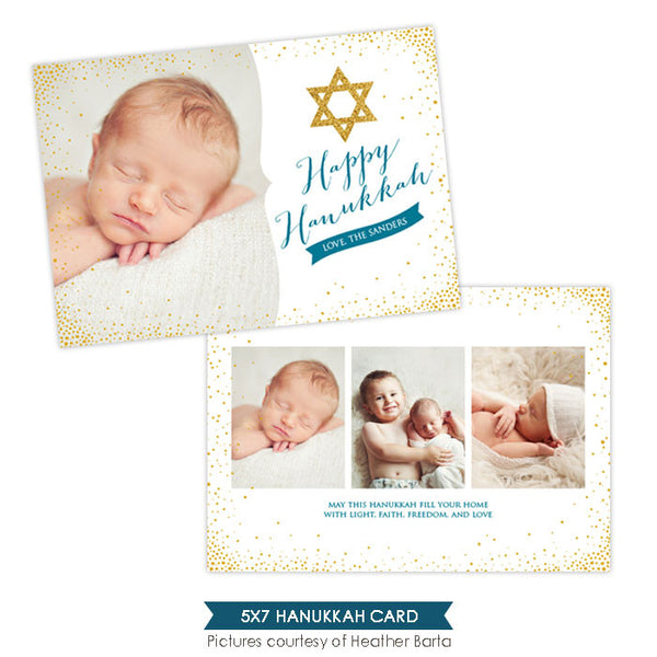 Hanukkah Photocard Template | Star and lights - e961