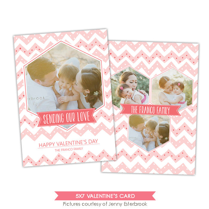 Valentine Photocard Template | Blush chevron