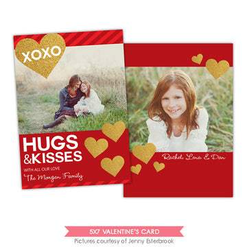 Valentine Photocard Template | Gold & hearts