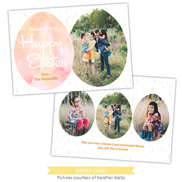 Easter photo card | Watercolor eggs