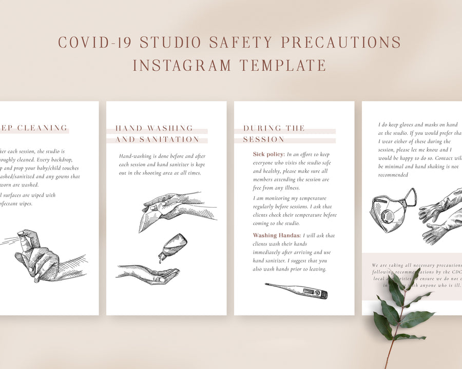 COVID-19 Studio Safety Precautions Instagram Stories