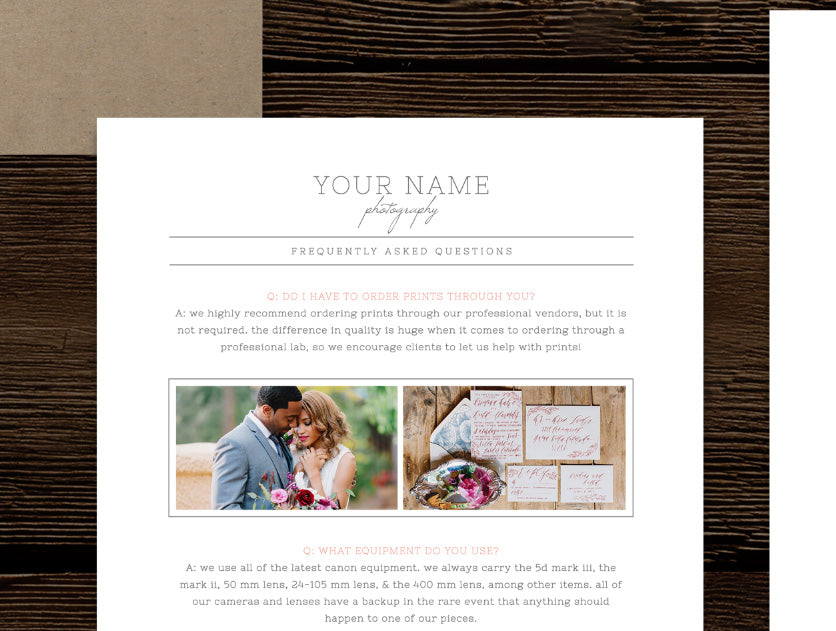 What to Wear & FAQ Template for Wedding Photographers - Cambria