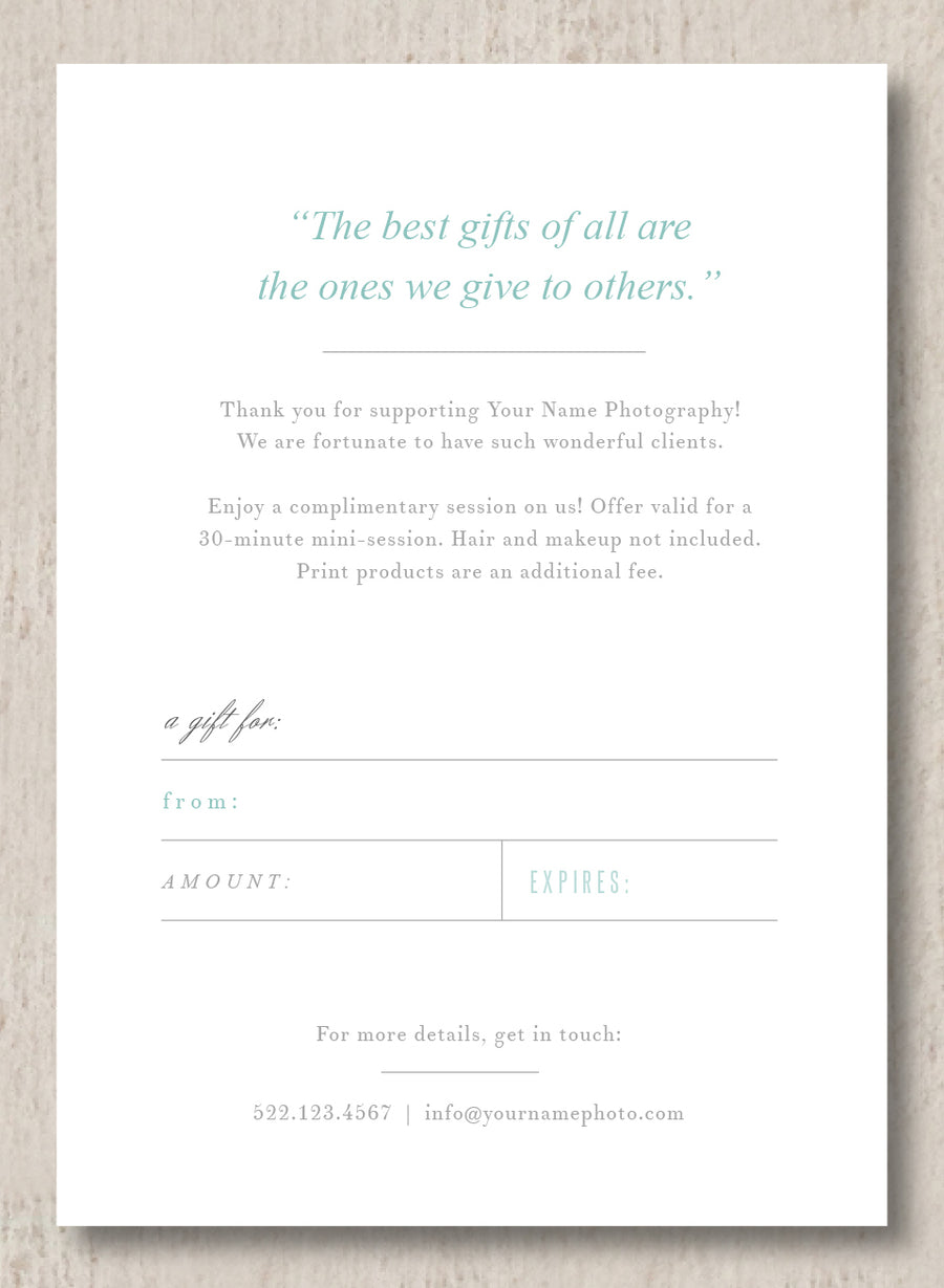 Wedding Photographer Gift Certificate Template - Monterey
