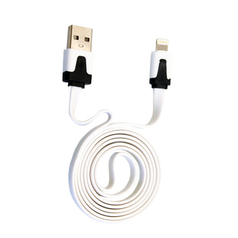 CABLE PLANO IPHONE 5/6. BLANCO. 1M