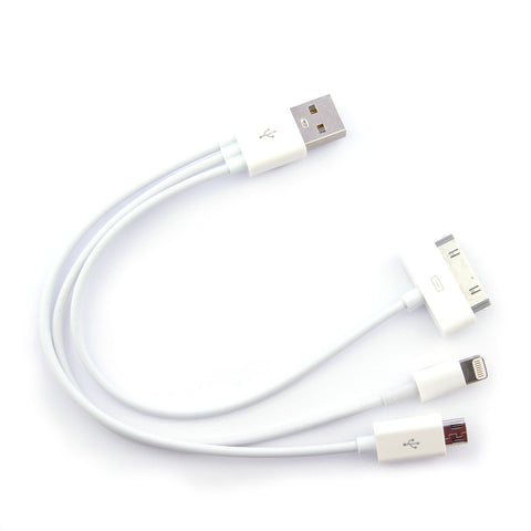 Cable datos USB multiple para samsung,iphone 4/5/6. Blanco