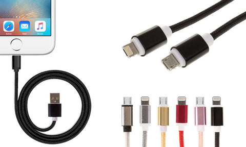 CABLE REFORZADO EN COLOR METÁLICO PARA IPHONE Y ANDROID