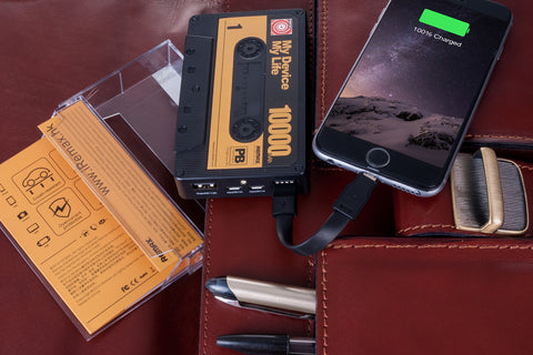 POWERBANK RETRO CASSETTE DOBLE USB 10.000MAH