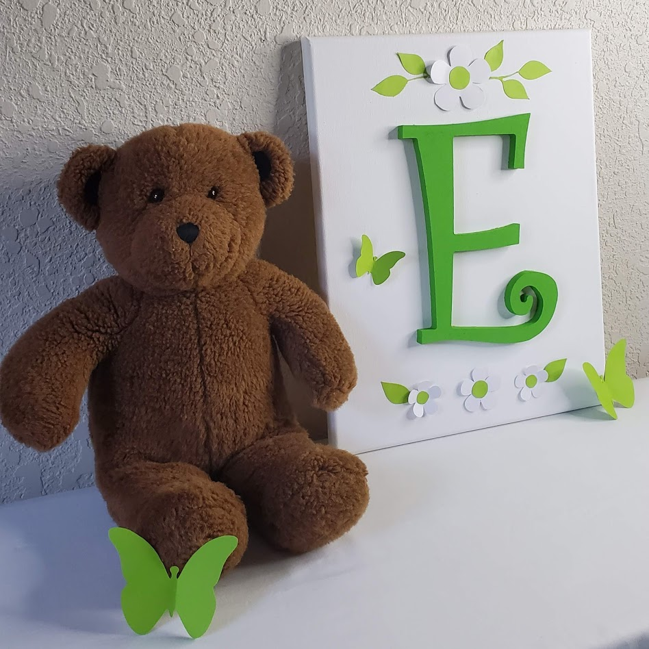 Nursery Wall Art - Green Wood Letters