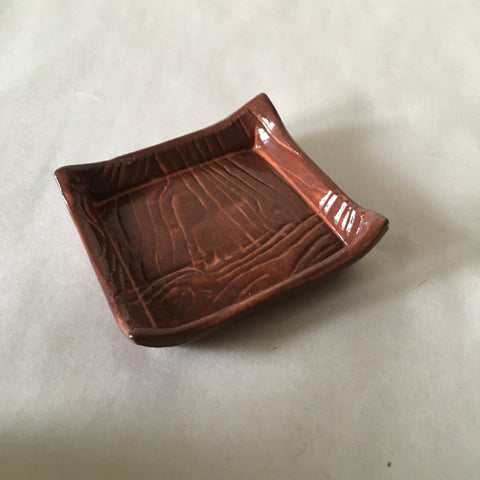 Small Dark Coral Faux Bois Trinket/Incense Tray