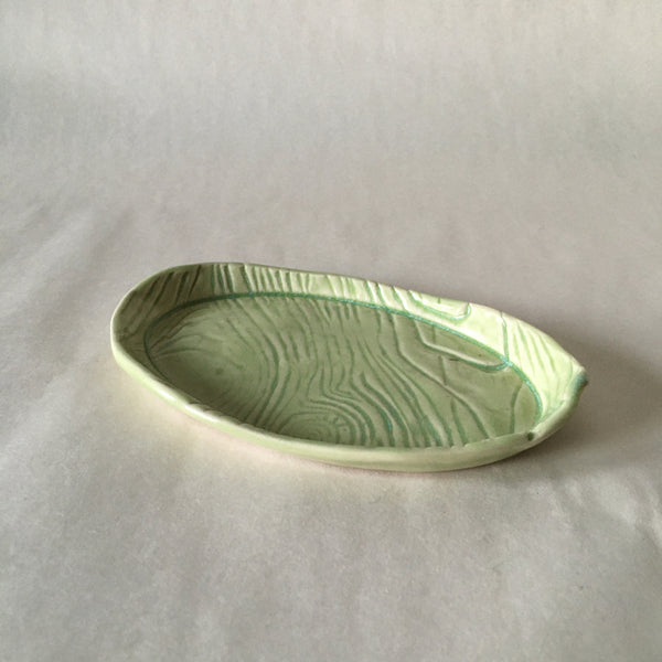 Oval Green Faux Bois Dish