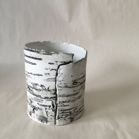 Wide White Birch Vase