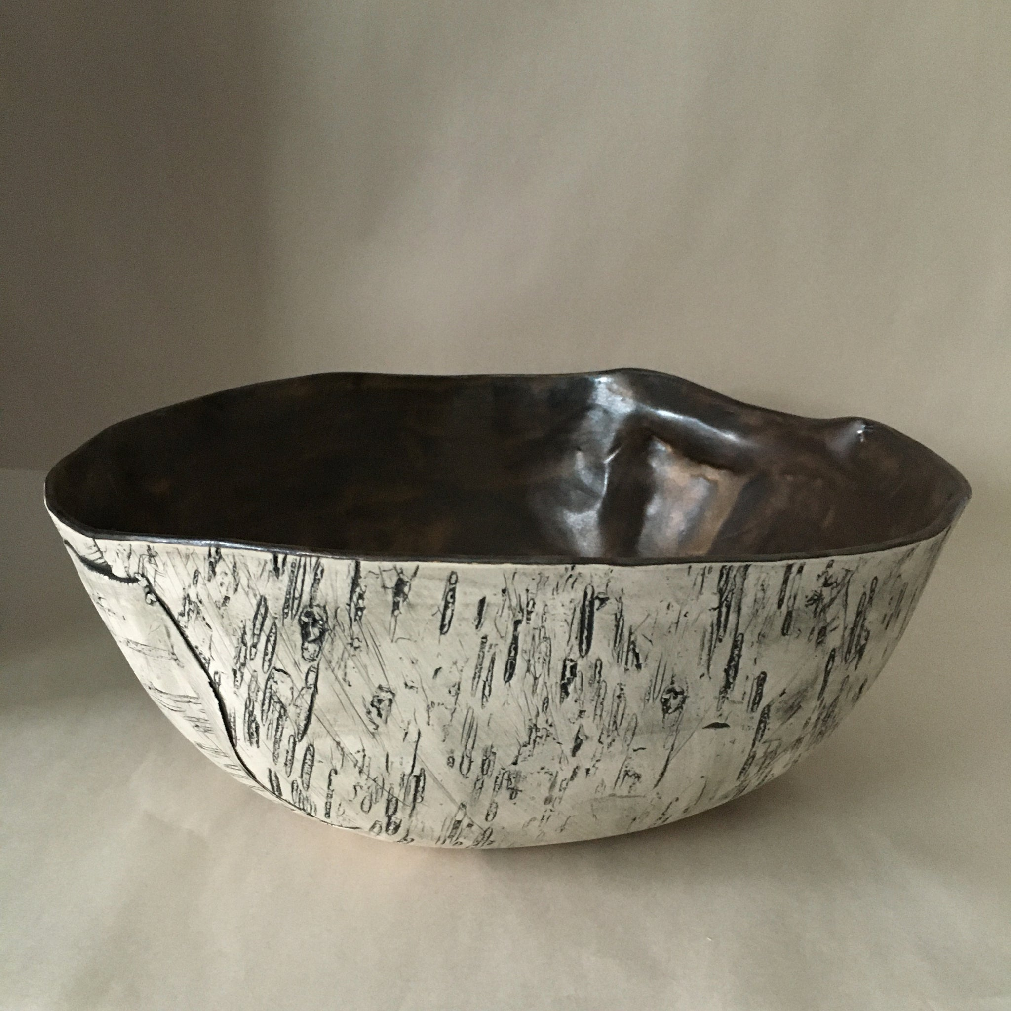 Large Bronze Birch Bowl