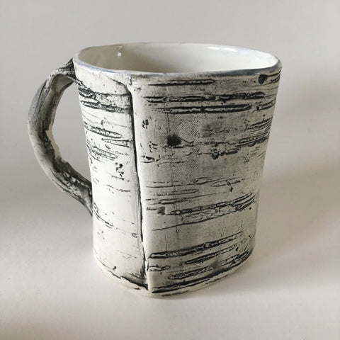 White Faux Bois Birch Mug