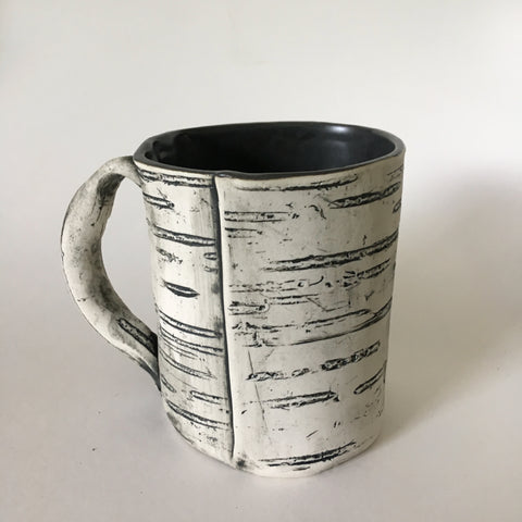 12oz Black Faux Bois Birch Mug
