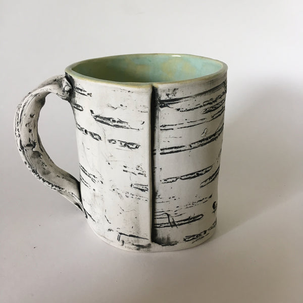 12oz Green Faux Bois Birch Mug