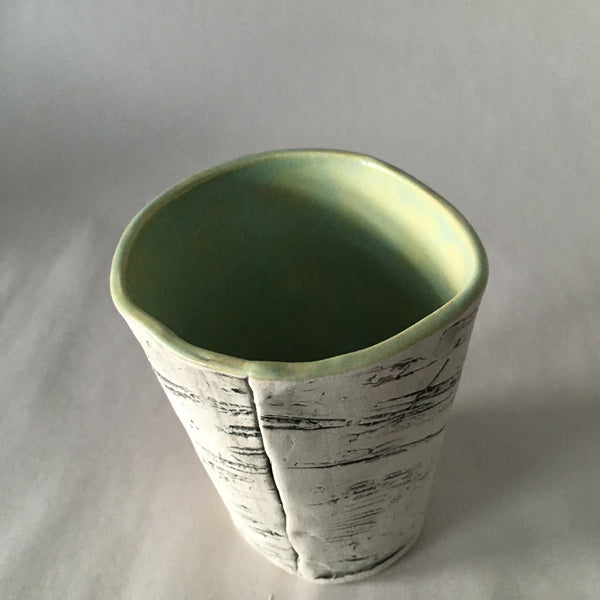 Birch Tumbler with Green Glaze