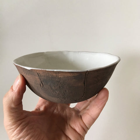 Small White Brown Faux Bois Bowl