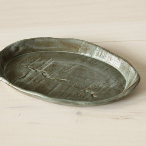 Green Faux Bois Oval Soap Dish