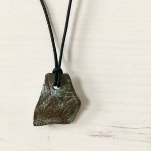 Faux Bois Wooden Green Shard Pendant Necklace