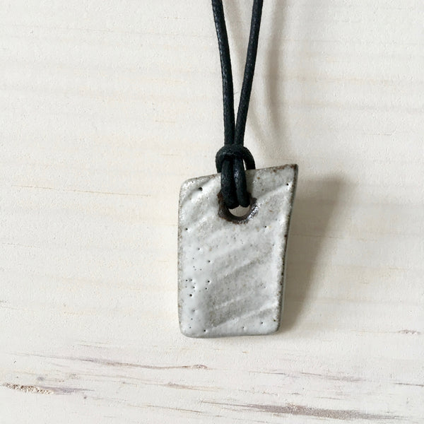 Faux Bois Wooden White Shard Pendant Necklace