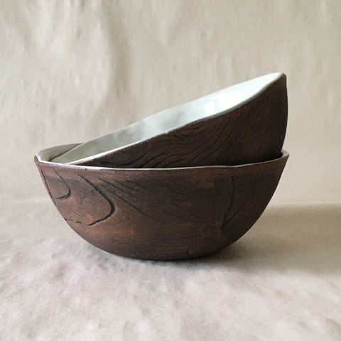 Small White Brown Faux Bois Wood Grain Bowl