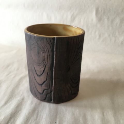 16oz Yellow Faux Bois Tea Cup