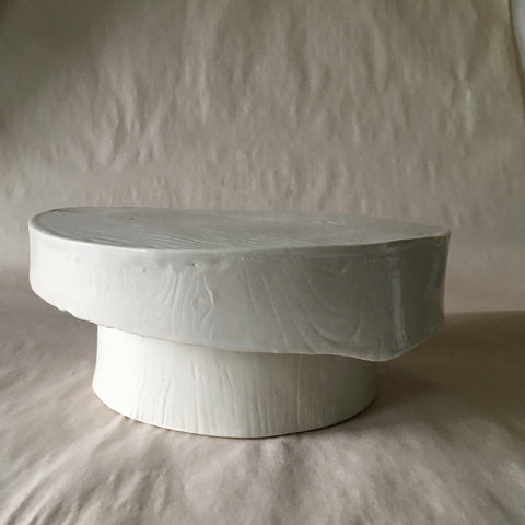 White Faux Bois Pastry/Cake Stand