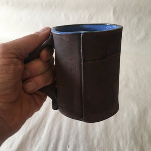 16oz Blue Brown Reclaimed Wood Mug