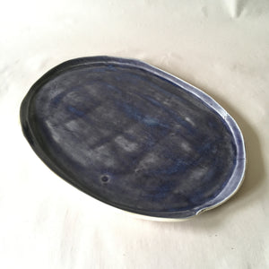 Oval Blue Platter with White Faux Bois Base