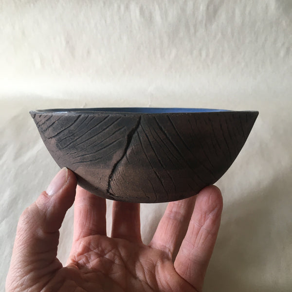 Small Blue Faux Bois Wood Grain Bowl
