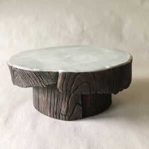 Medium White Faux Bois Pastry/Cake Stand