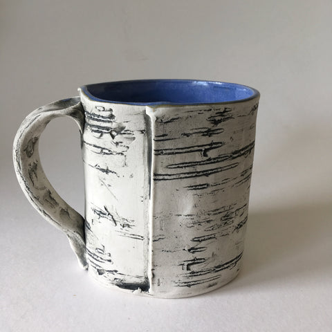 16oz Blue Faux Bois Birch Mug