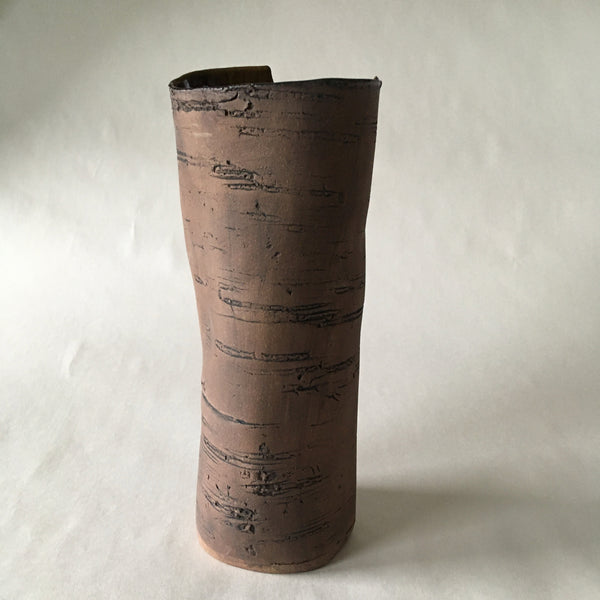 Large Brown Stoneware Birch Vase