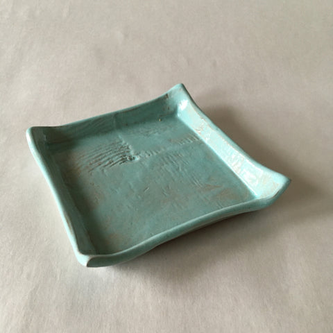 Blue Green Square Catchall Dish