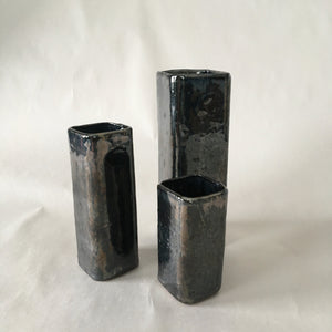 Trio of Metallic Square Vases