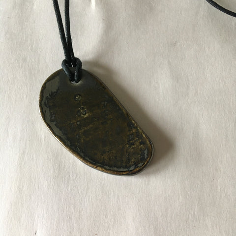 Metallic Oval Pendant Necklace