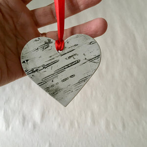 Valentine's Heart Shaped Birch Ornament