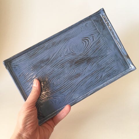 Large Blue Catchall Tray with Wood Grain Texture