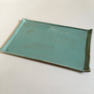 Large Celadon Catchall Tray with Birch Bark Texture