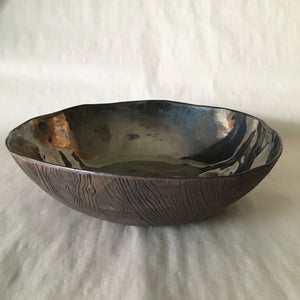 Mirrored Brown Faux Bois Bowl