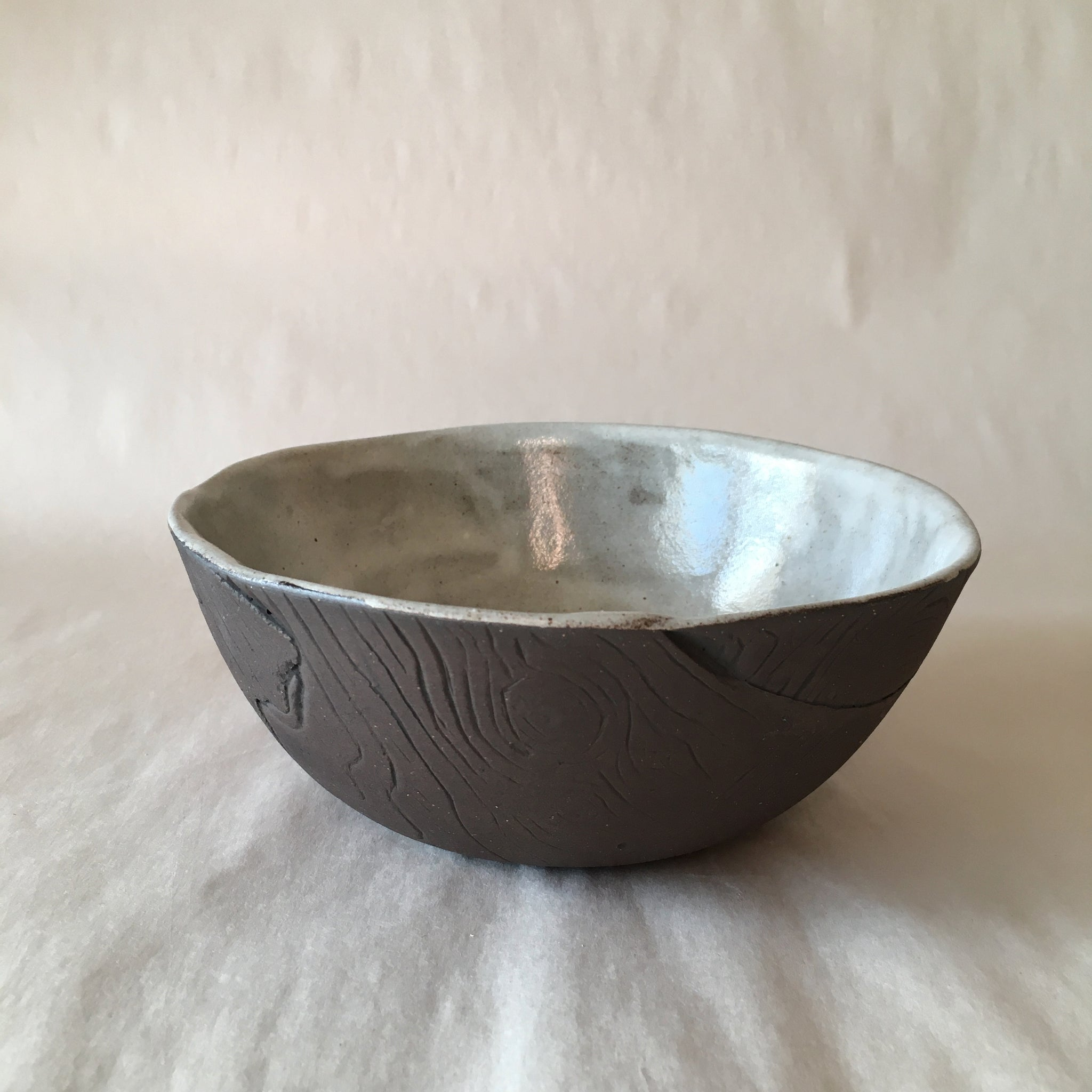 White Faux Bois Salad Bowl