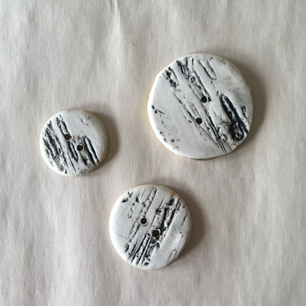 "Handmade Ceramic Birch Buttons: 1.25"" Yellow"