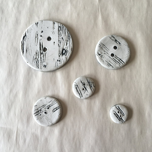 "Handmade Ceramic Birch Buttons: 1"" Blue"