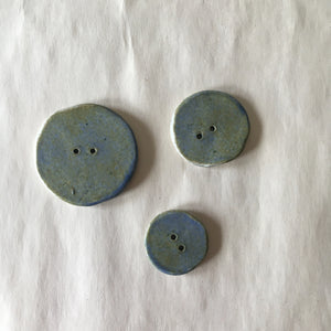 "Handmade Ceramic Birch Buttons: 3/4"" Blue/Green"