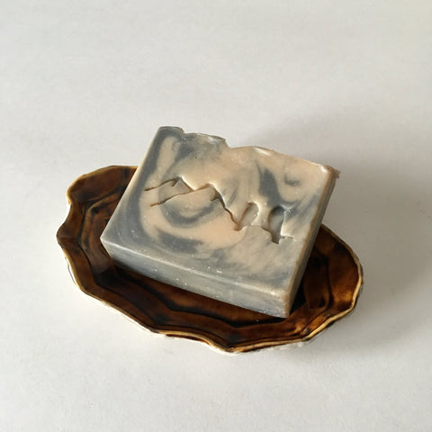Handmade Oval Porcelain Brown Soap Dish